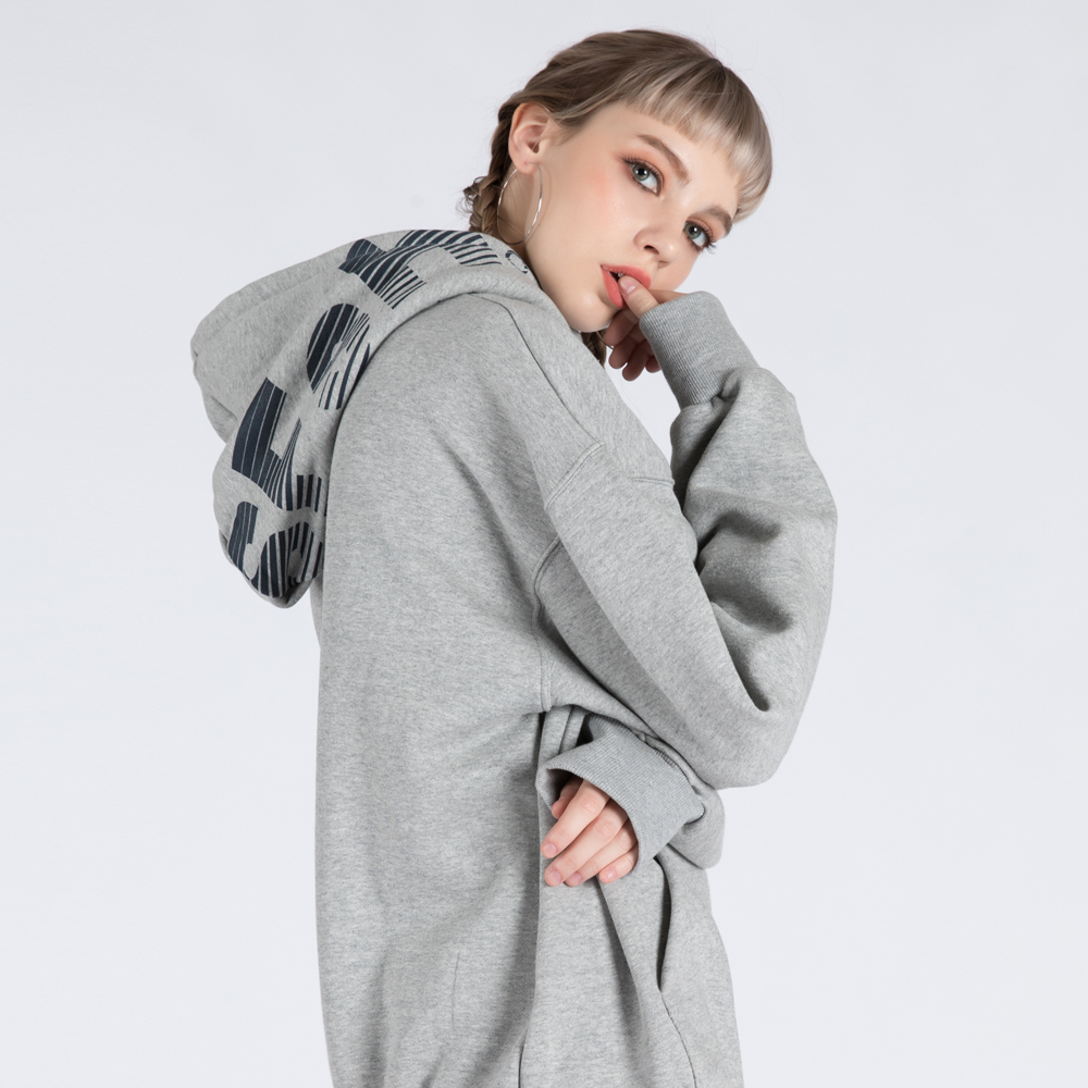 SFsH PRINTED BASIC HOODIE SWEATSHIRT (SAF3HD01) (MELANGE GREY)