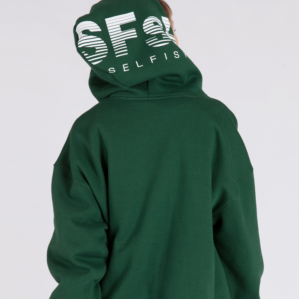 SFsH PRINTED BASIC HOODIE SWEATSHIRT (SAF3HD01) (GREEN)