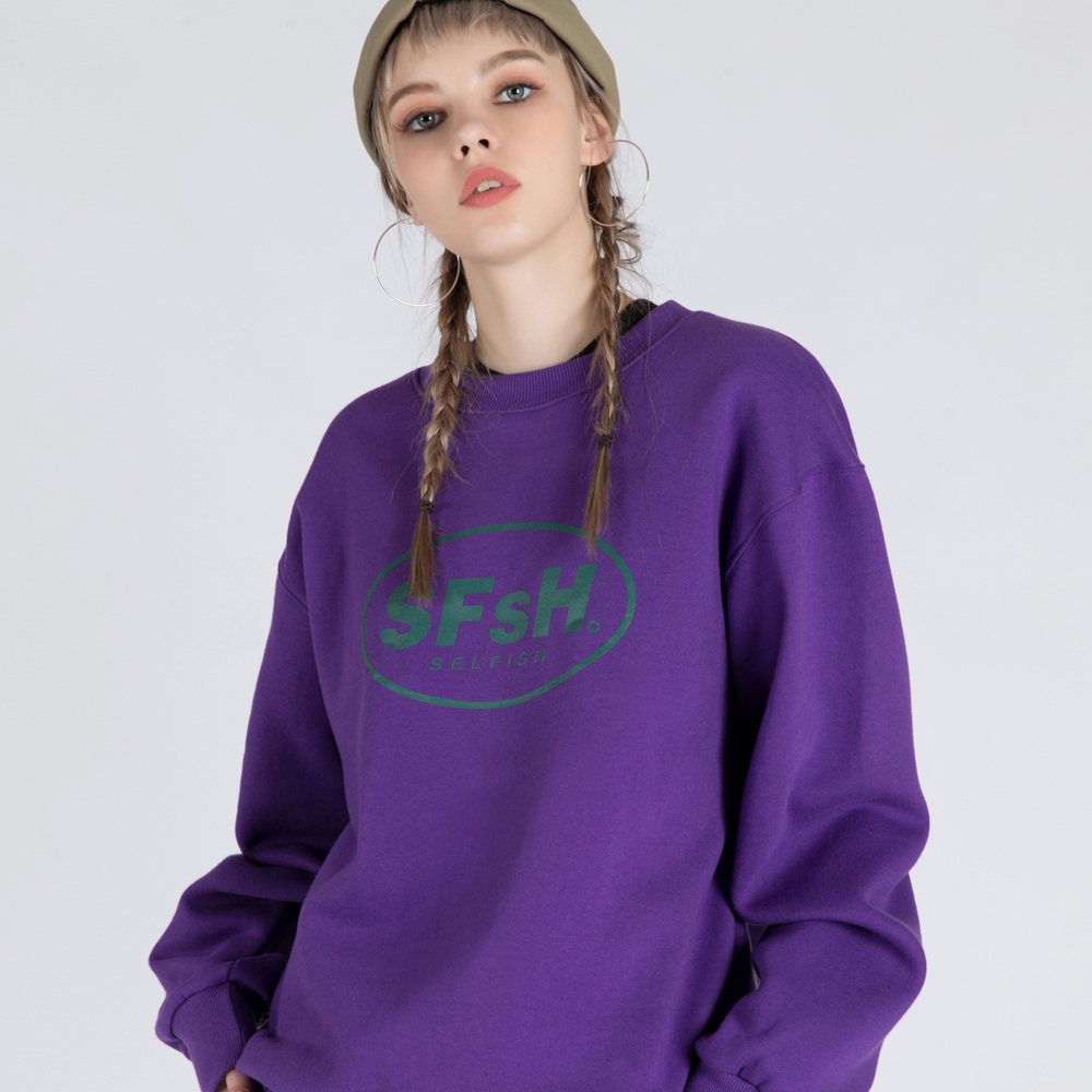 BASIC LOGO PRINTED CREW-NECK SWEATSHIRT (SAF3TS02) (PURPLE)