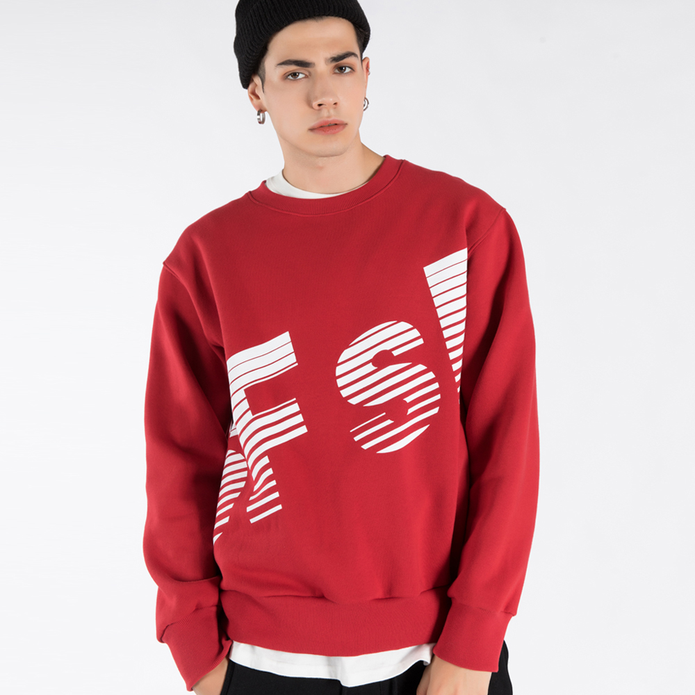 SFsH BIG LOGO PRINTED CREW-NECK SWEATSHIRT (SAF3TS01) (RED)