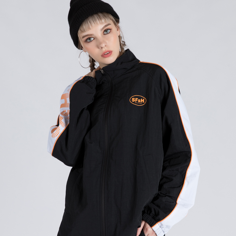 WIND-BREAK TRACK JUMPER (SAF3TR01) (BLACK)