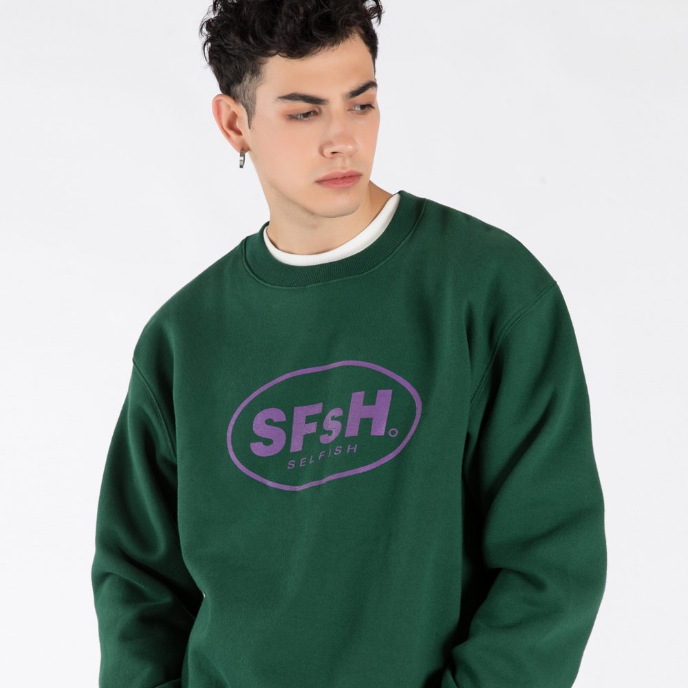 BASIC LOGO PRINTED CREW-NECK SWEATSHIRT (SAF3TS02) (GREEN)