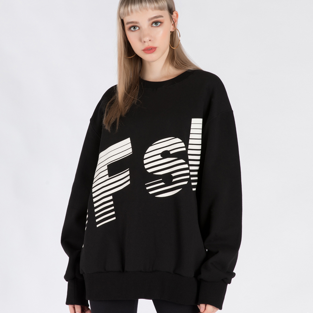 SFsH BIG LOGO PRINTED CREW-NECK SWEATSHIRT (SAF3TS01) (BLACK)