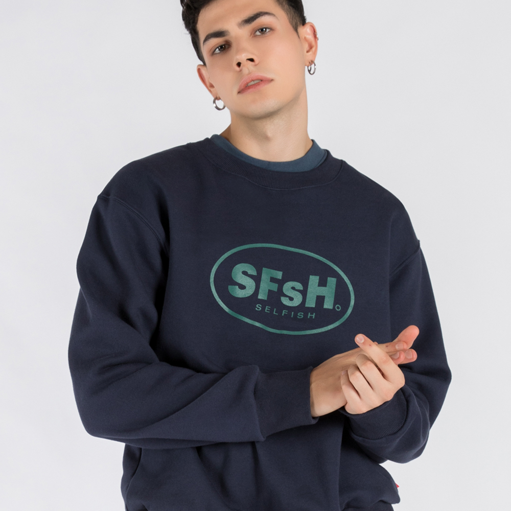 BASIC LOGO PRINTED CREW-NECK SWEATSHIRT (SAF3TS02) (NAVY)