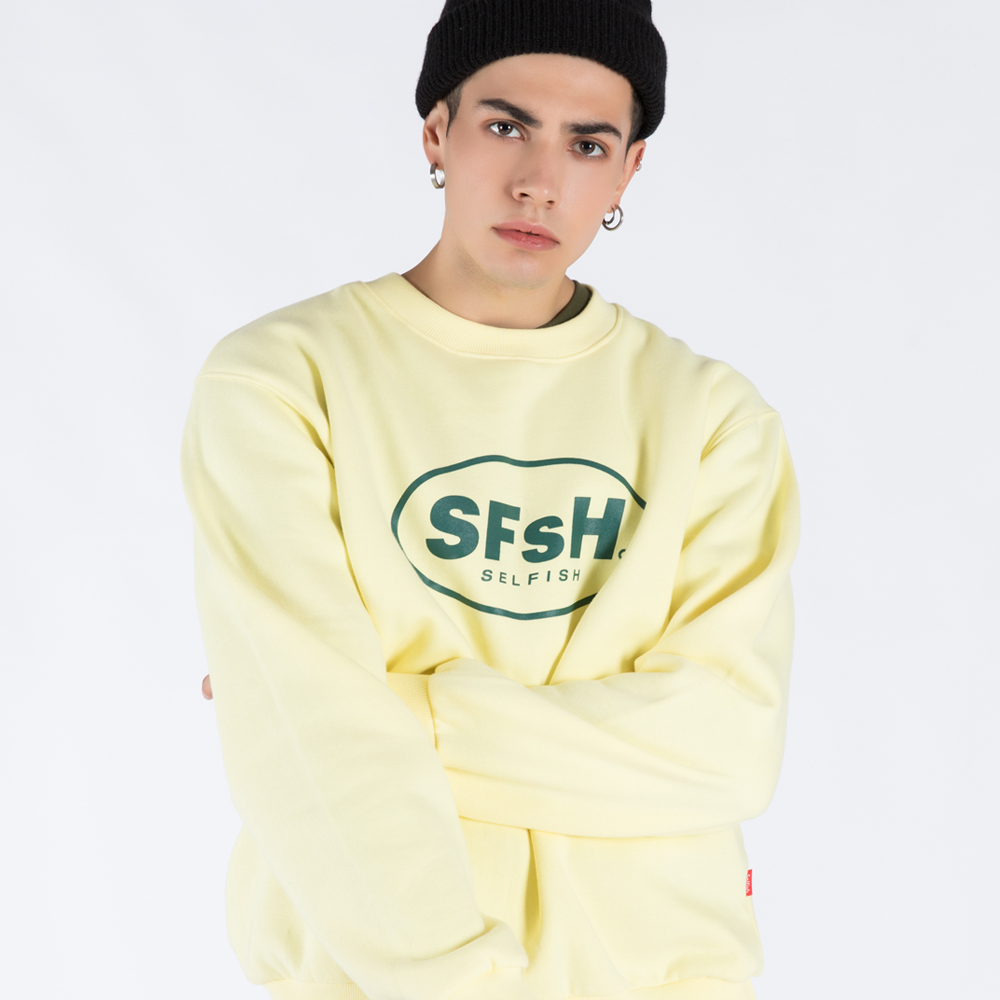 BASIC LOGO PRINTED CREW-NECK SWEATSHIRT (SAF3TS02) (YELLOW)