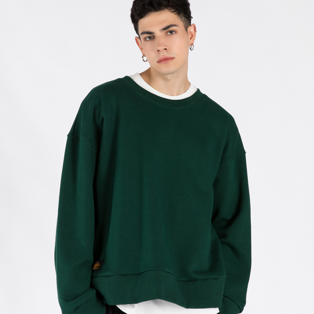 OVERSIZE HEAVY CREW-NECK SWEATSHIRT (SAF3TS03) (GREEN)