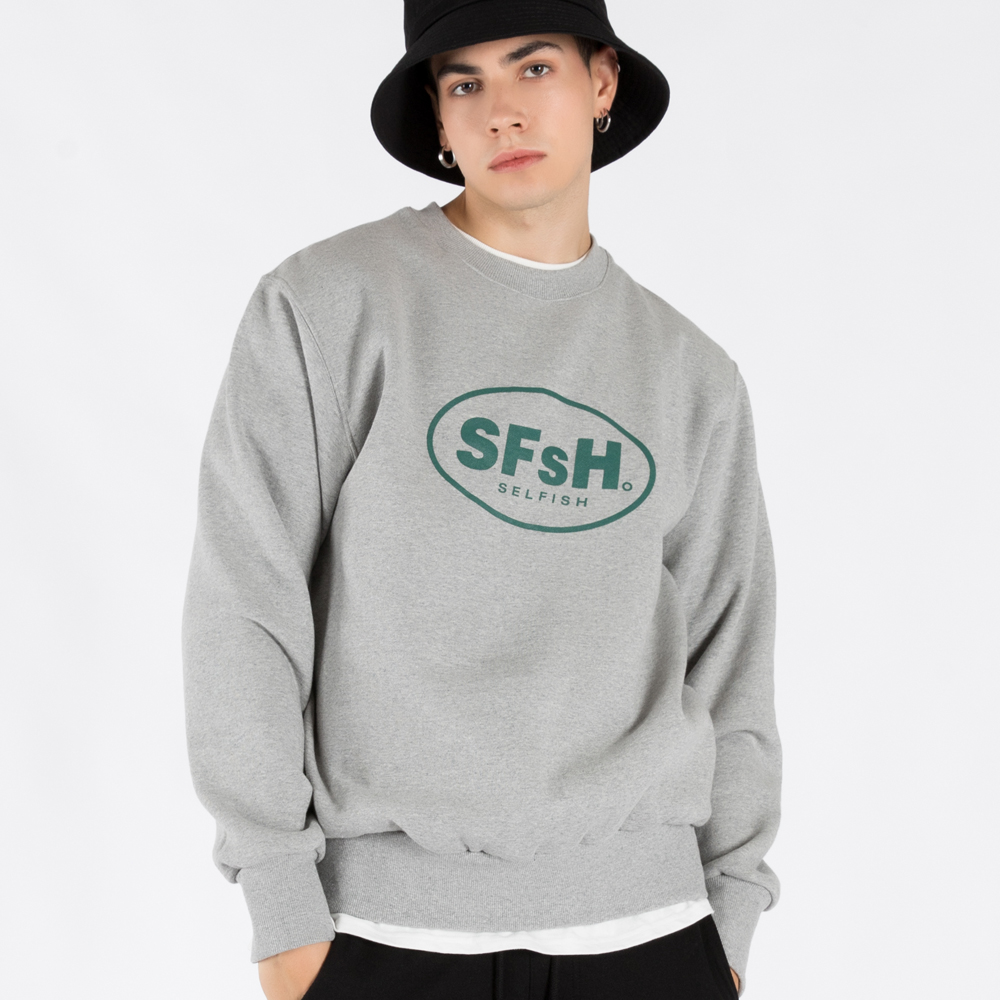 BASIC LOGO PRINTED CREW-NECK SWEATSHIRT (SAF3TS02) (MELANGE GREY)