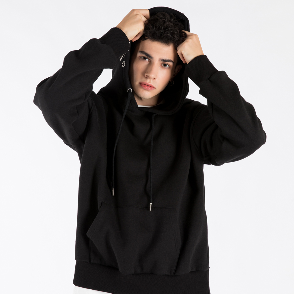 SFsH PRINTED BASIC HOODIE SWEATSHIRT (SAF3HD01) (BLACK)