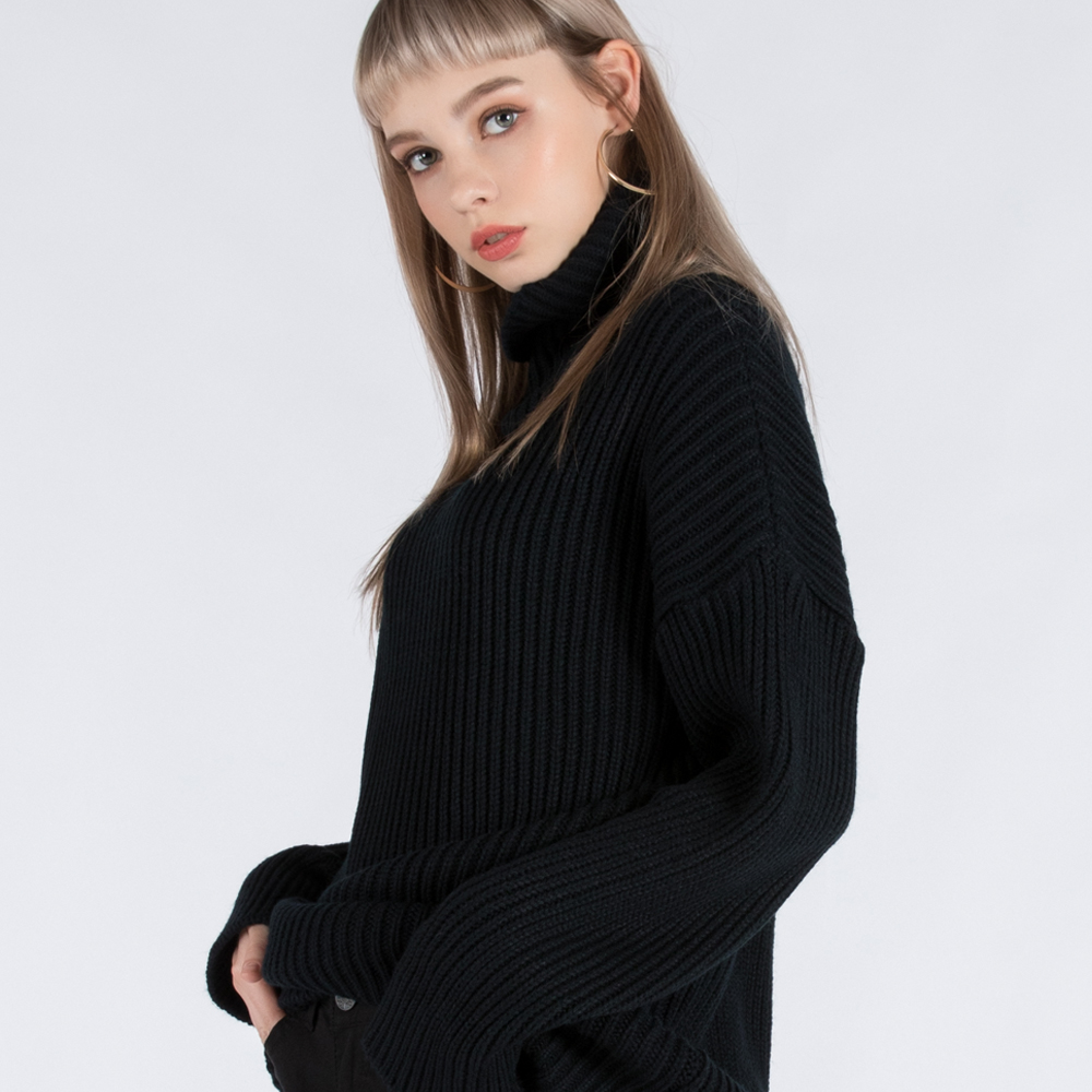 BASIC TURTLE-NECK SWEATER (SAF3SW02) (NAVY)