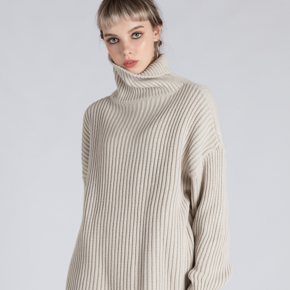 BASIC TURTLE-NECK SWEATER (SAF3SW02) (IVORY)