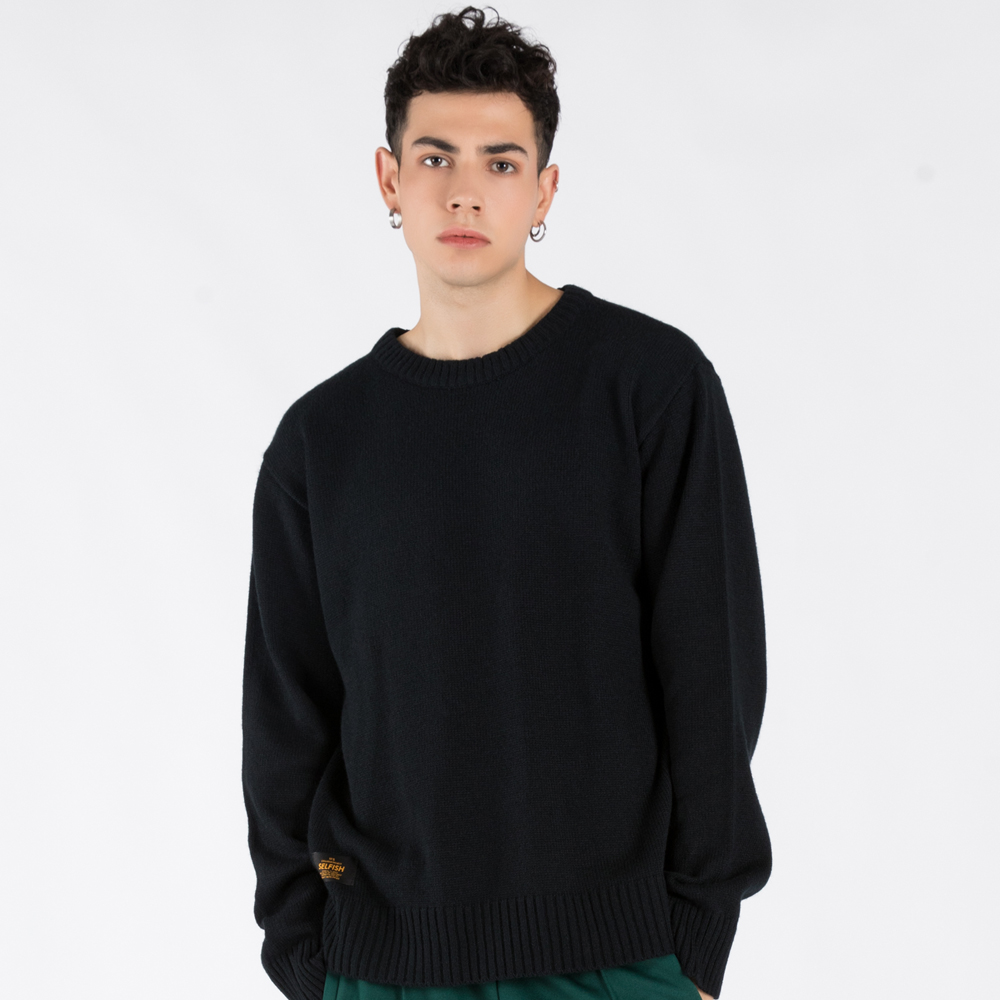 BASIC CREW-NECK SWEATER (SAF3SW01) (NAVY)