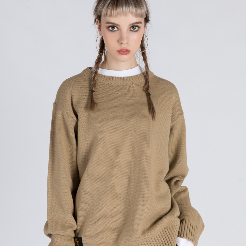 BASIC CREW-NECK SWEATER (SAF3SW01) (BROWN)