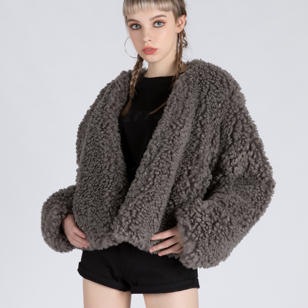 HOFF FAKE FUR SHORT JACKET (SAW2JK02) (GREY)