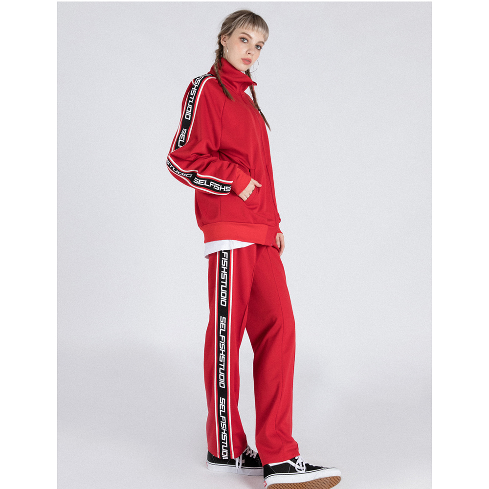 LOGO TAPE TRACK SUIT SET (RED)